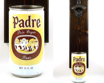 Wall Mounted California Beer Bottle Opener With A Vintage Padre Lager Beer Can Cap Catcher - Groomsmen Or Boyfriend Rustic Barware Gift Idea