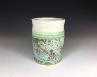 Pottery Cup, Pottery Tumbler, Stoneware, Matte Turquoise and White, Penguin Design