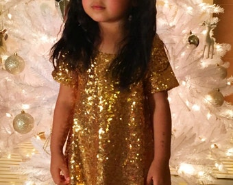 Size 4T -Abby sequins gold dress perfect as a holiday dress, birthday dress, party dress or New Years Eve dress. Ships FREE by 12/5.