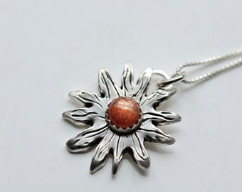 Sun necklace. Silver sun pendant with sunstone and sterling chain. Sun and moon pendants.