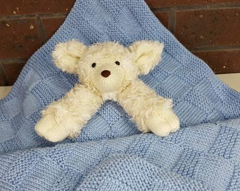 Hand Knitted Baby Lamb Companion Baby Blanket in Baby Blue