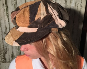 70s patchwork leather hat