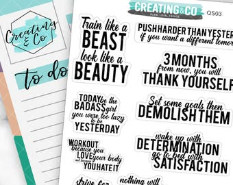Fitness Inspirational Quote Planner Stickers for a Variety of Planners, Motivational Quote Stickers, Inspirational Quotes - QS03