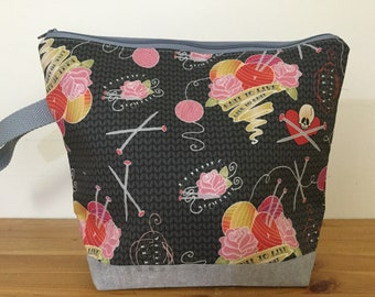 Knit to Live, Roses & Skulls, Large Zippered Knitting Project Bag