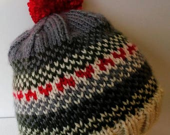 Little Hearts hat in green,gray,cream and red