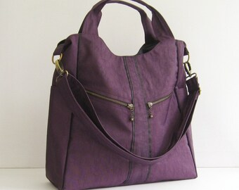 Sale - Water-Resistant Nylon in Deep Plum - diaper bag, crossbody bag, handbag, messenger bag, laptop, tote, zipper - ALLISON