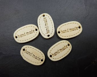 "Oval engraved writing message ""handmade"", wooden tags wood buttons, writing hand made 19 x 12 mm"