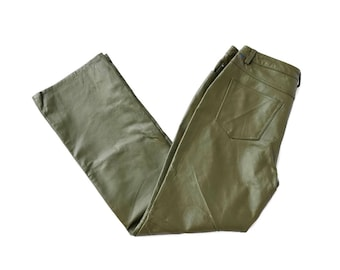 Vintage Green Leather Bootcut Pants// Size 8
