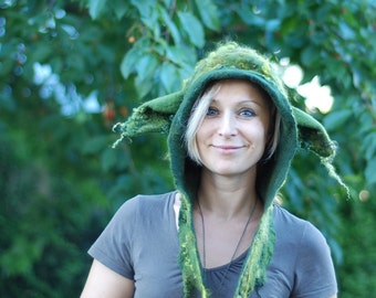 Felted hoodie with goblin ears, Yoda hat