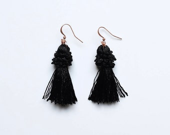 Crown Tassel Earrings | B L A C K