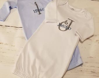 Monogrammed Baby Gown, Baby Boy Coming Home Outfit, Baby Boy Monogram Gowns, Monogram Baby Boy Outfit, Coming Home Baby Gown, Boy Gowns