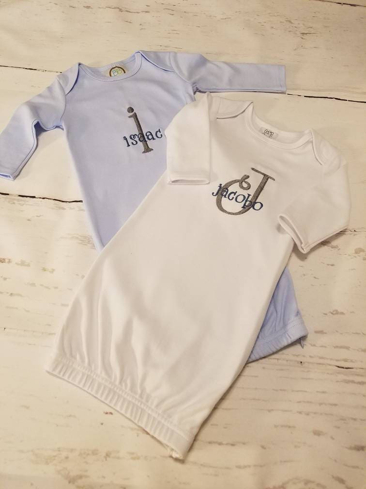 Monogrammed Baby Gown Baby Boy Coming Home Outfit Baby Boy