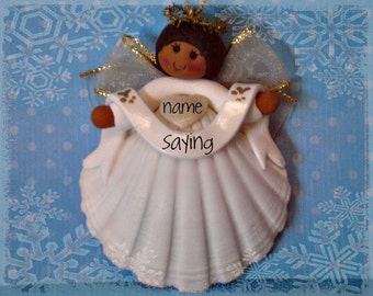 Shell Angel Personalized Christmas Ornament with Dark Skintone on a Real Scallop Shell