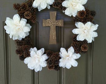 Rustic wreath, Pinecone wreath, Autumn wreath, Winter wreath, Fall Decor, Wreath with cross, wreath with flowers, Burlap mesh bow,
