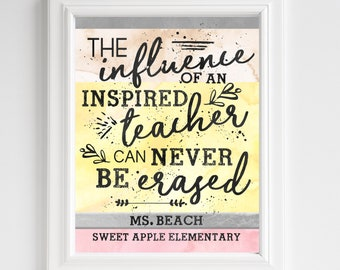 Teacher Gift - Pencils - Teacher Appreciation - Influence Can Never Be Erased - PERSONALIZED Classroom Art - UNFRAMED Print - Teacher Quotes