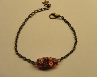 Bracelet chain bronze metal and Pearl gemstone