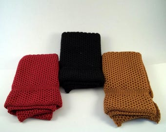 Dishcloths Knit in Cotton in Black, Saffron and Apple Red, Knit Wash Cloth