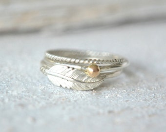 Feather Ring Set , Silver Feather Ring, Boho Ring, Personalized Feather Ring, Boho Jewelry, Twisted Stack Ring, Dot Ring, Dainty Ring