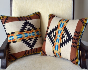 PILLOW COVERS a pair of wool pillow cases handmade Rancho Arroyo Native American design wool fabric Pillow Covers Zipper Closure