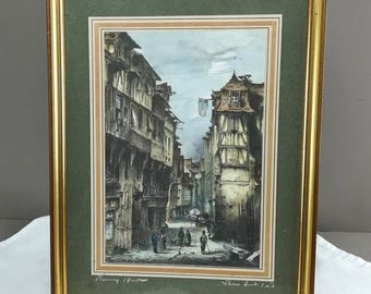 Painting, color engraving, etching. street scene, Rouen in the 18th century. Antique French painting, street 1700s half-timbered houses