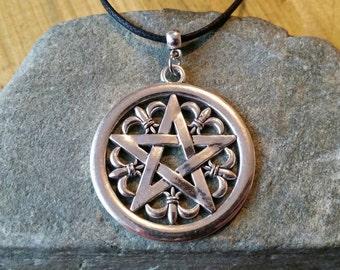 Pentacle necklace etsy large pentagram necklace decorative silver pentacle necklace aloadofball Images