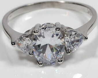 3 Stone Ring CZ, Cubic Zirconia Oval Rhodium Sterling Silver Anniversary, Wedding Ring