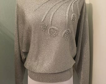 Vintage Silver Dolman Sleeve Floral Light Weight Sweater