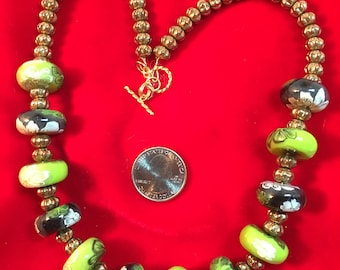 Unique, one of a kind necklace with handmade beads