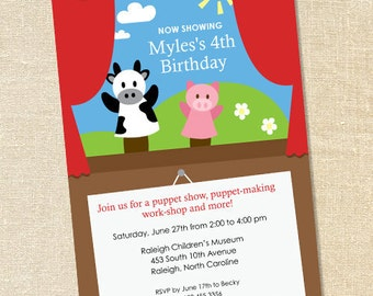 Sweet Wishes Puppet Show Birthday Party Invitations - PRINTED - Digital File Also Available