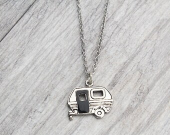 Camper Necklace // Camping Necklace // Silver // Chain Necklace // Vintage Camper // Cute Necklace // Jewelry // Outdoorsy // Nature