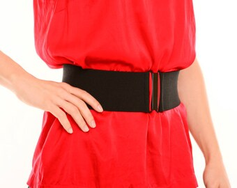 Black elastic waist belt for women - available in regular and plus size