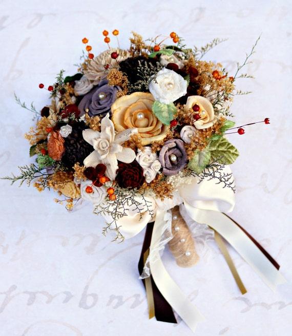 Autumn Wedding Bouquet // Fall Colors Chocolate Brown Orange