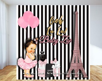 PRINTABLE  Paris Theme Backdrop, Parisian Themed Backdrop, Baby Shower Striped Back Drop,  Step and Repeat