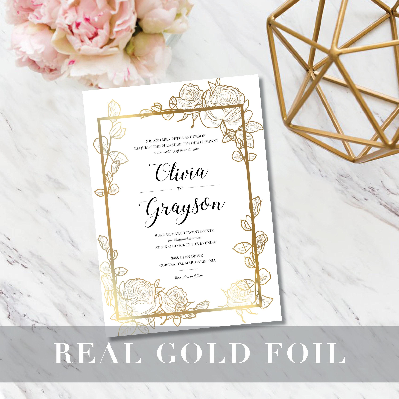 Floral Sketch Wedding Invitation // Minimalist Modern // Real
