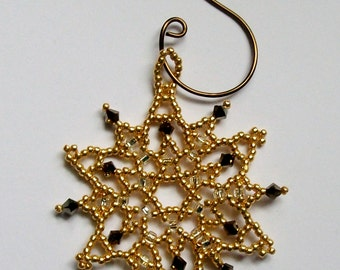 FROZEN Christmas Gold Beaded Snowflake Ornament with Swarovski Crystals, hand stitched