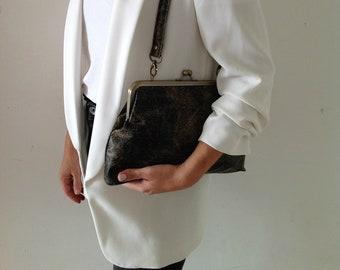 Shoulder bag, Evening purse, Bronze bag, Black purse, Formal clutch purse, Elegant evening purse, Gift for Her, Brown evening bag