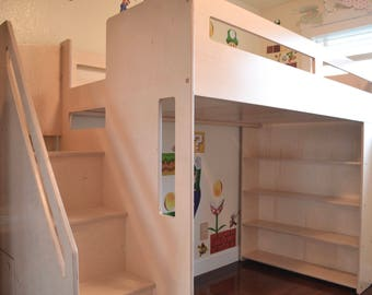 "Loft bed with lots of storage and only 63"" high!"