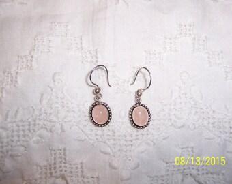 Vintage Rose Quartz dangle earrings. Sterling silver.