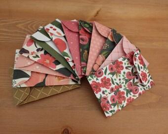 Floral gift card envelopes, Floral Gift Card Holder, Mother's Day, Gift Card Holder, Floral print, coin envelopes, money envelope, set of 12