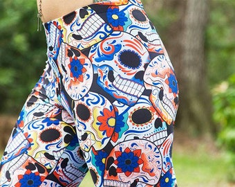 Girls Size Small (5/6) Yoga Legging Pant Handmade Lycra Bottom Skulls Candy Halloween Day of The Dead