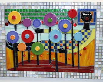 Stained Glass, Ceramic, Mosaic, Hundertwasser, Colorful, Depth