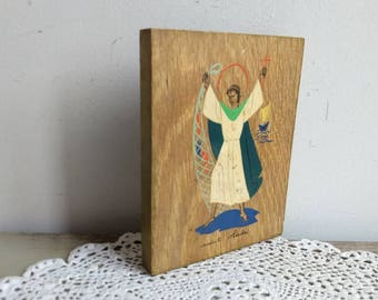 French vintage small, signed religious painting of St Andrew on wood, from Dijon, 1960s.