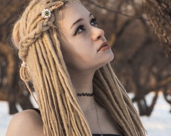 Custom blonde Synthetic Dreads (dreadlocks Double or Single Ended) Fall Hair Extensions dread white x10 or FULL SET Basilisk