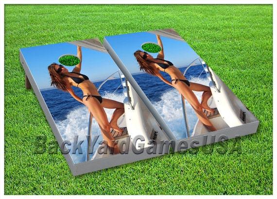 Vinyl Wraps Cornhole Boards Decals Bikini Girl Hot Bag Toss