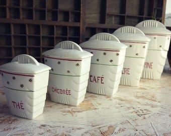 Jars with lids art decor - kitchen canisters set - kitchen storage