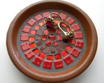 Red Mosaic Mandala Ring Holder, Engagement Ring Dish, Wedding Gift, National Best Friend Day, Gift for Bride, Red Mosaic Trinket Dish