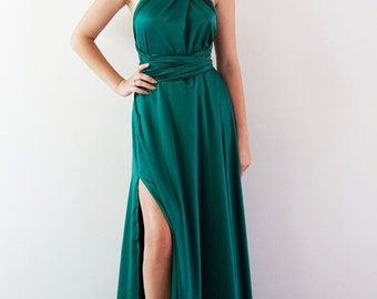 Sara Stretch Gown in Emerald Green