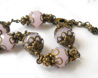 pink victorian filigree bracelet bronze bracelet pink jewelry pink beaded bracelet filigree bracelet pink bracelet pink and bronze bracelet