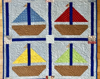 Sailboats Quilted Wall-hanging Table Runner Bed Footer