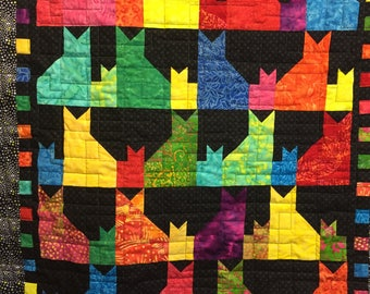 Baby quilts handmade, wallhanging, bright colors, cats